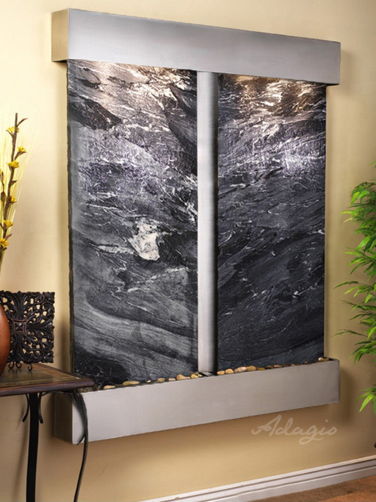 Cottonwood Falls: Black Spider Marble and Stainless Steel Trim with Squared Corners