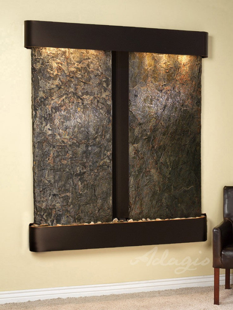 Cottonwood Falls: Green Slate and Blackened Copper Trim with Rounded Corners