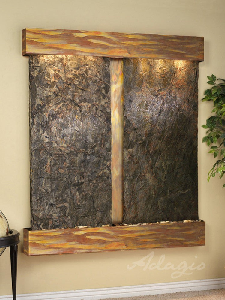 Cottonwood Falls - Green Slate - Rustic Copper - Squared Corners - Soothing Walls