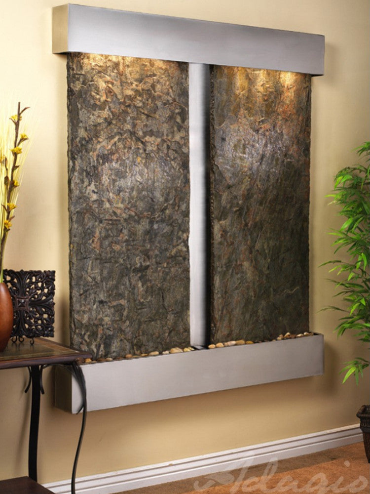 Cottonwood Falls - Green Slate - Stainless Steel - Squared Corners - Soothing Walls