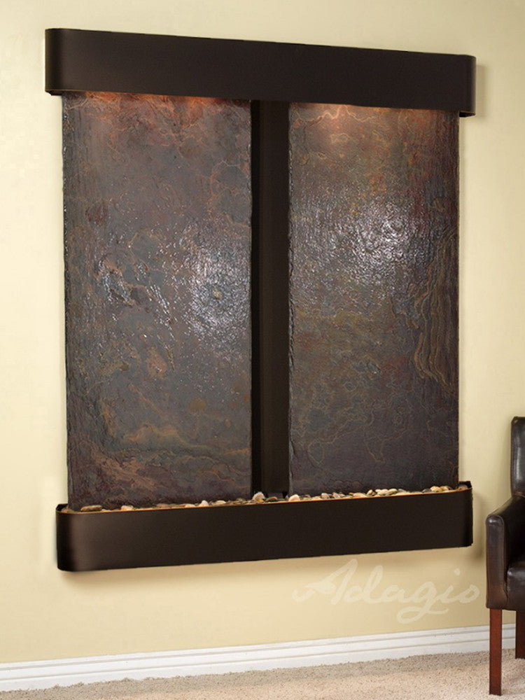 Cottonwood Falls: Multi-Color Slate and Blackened Copper Trim with Rounded Corners