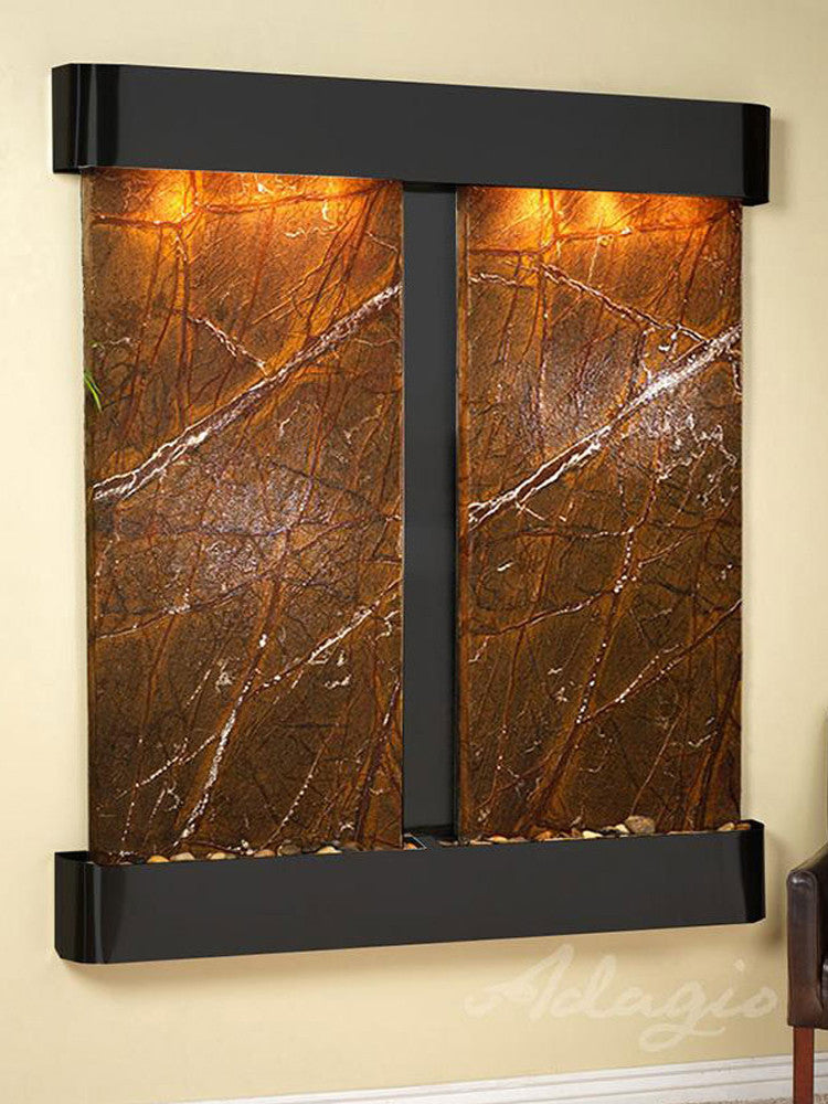 Cottonwood Falls: Rainforest Brown Marble and Blackened Copper Trim with Rounded Corners