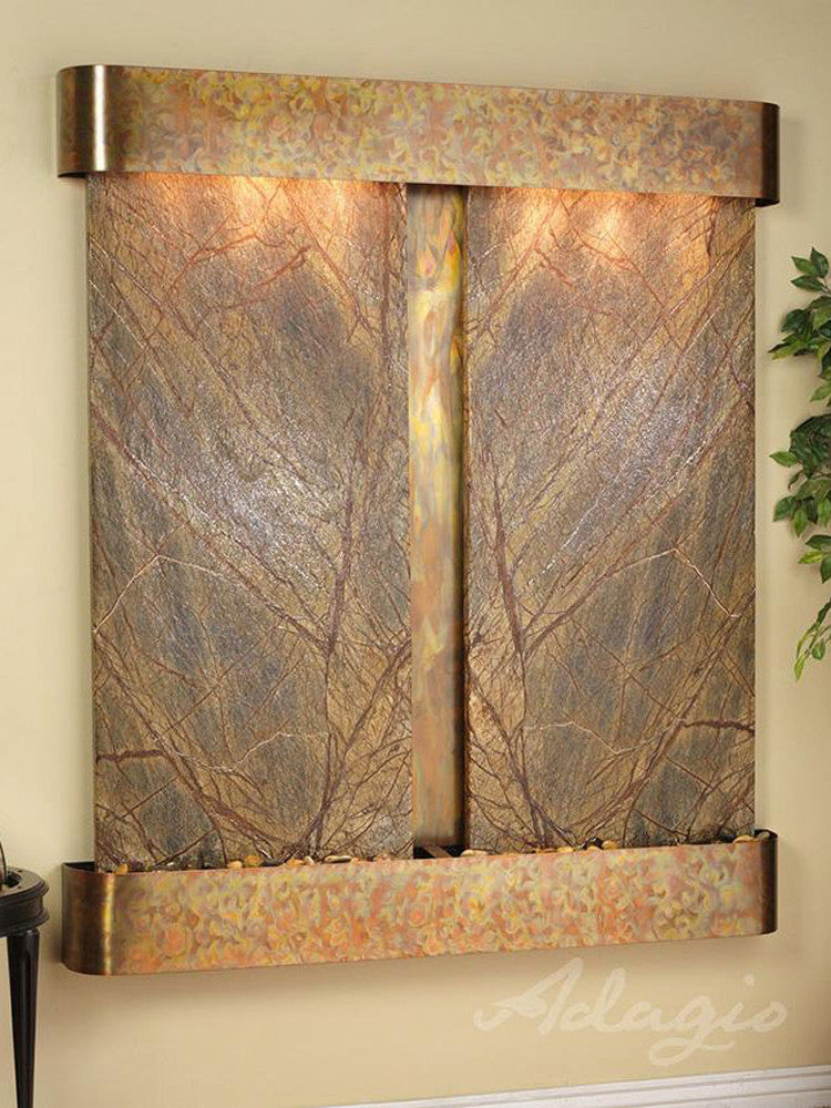 Cottonwood Falls: Rainforest Brown Marble and Rustic Copper Trim with Rounded Corners