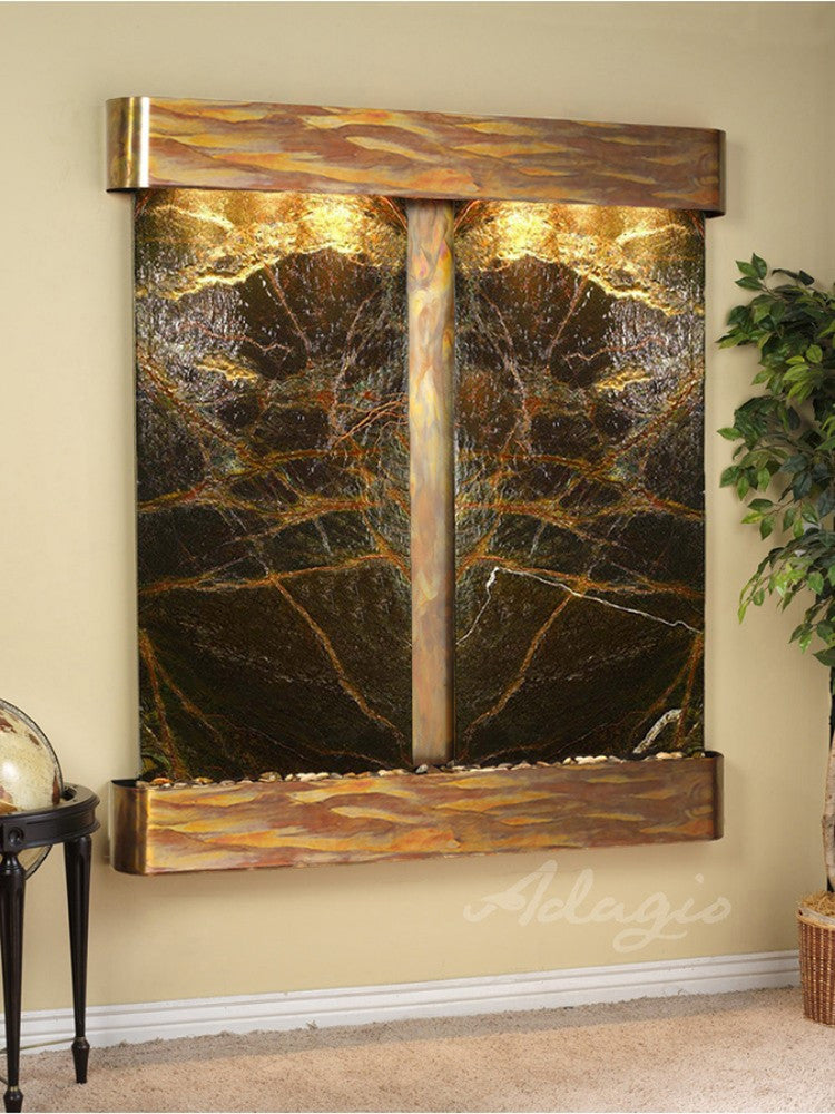 Cottonwood Falls: Rainforest Green Marble and Rustic Copper Trim with Rounded Corners