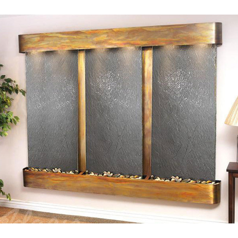 Deep Creek - Black FeatherStone - Rustic Copper - Rounded Corners - Soothing Walls