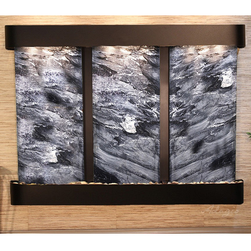 Deep Creek Falls: Black Spider Marble and Blackened Copper Trim with Rounded Corners