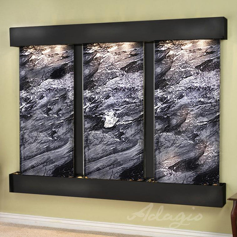 Deep Creek - Black Spider Marble - Blackened Copper - Squared Corners - Soothing Walls