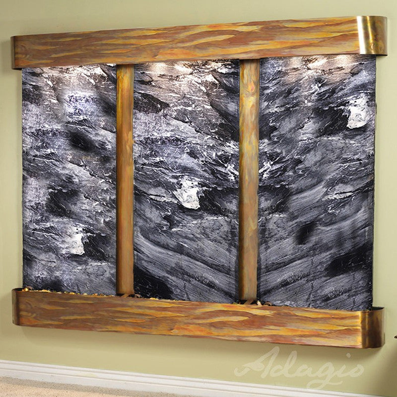 Deep Creek Falls: Black Spider Marble and Rustic Copper Trim and Rounded Corners