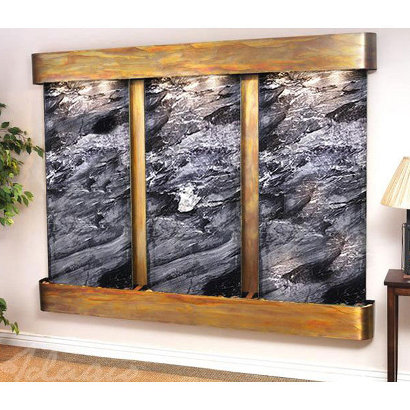 Deep Creek Falls: Black Spider Marble and Rustic Copper Trim with Rounded Corners