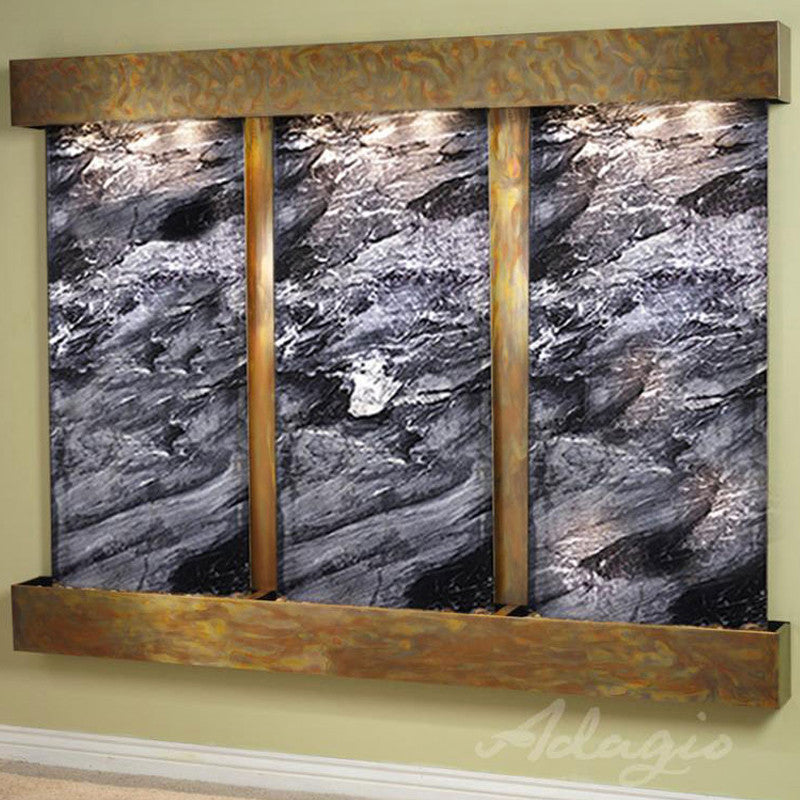 Deep Creek - Black Spider Marble - Rustic Copper - Squared Corners - Soothing Walls