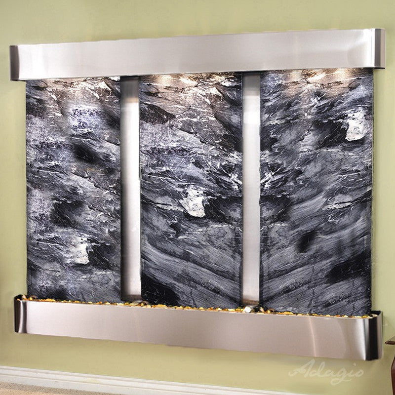 Deep Creek Falls: Black Spider Marble and Stainless Steel Trim and Rounded Corners