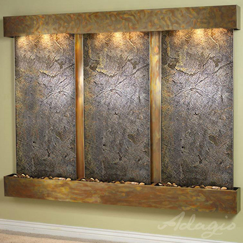Deep Creek Falls: Green Featherstone and Rustic Copper Trim with Squared Corners