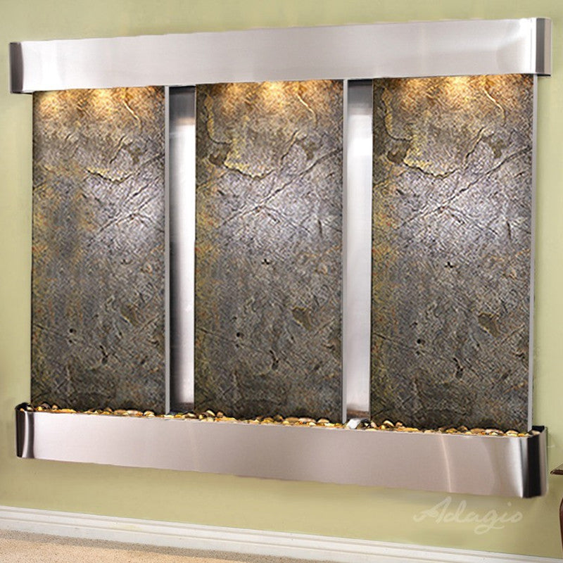 Deep Creek Falls: Green Featherstone and Stainless Steel Trim with Rounded Corners
