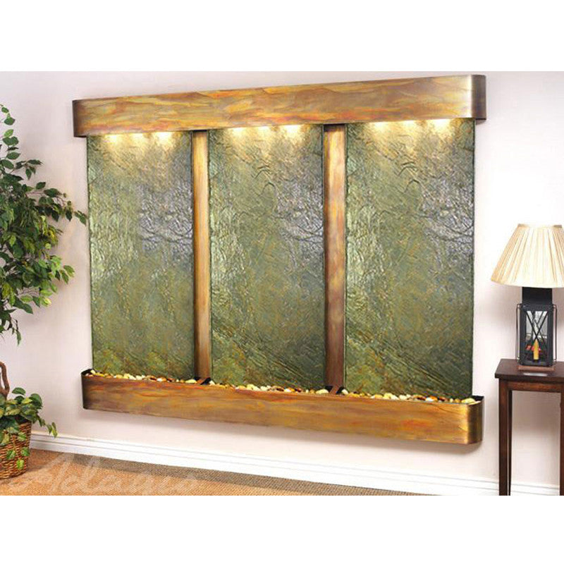 Deep Creek - Green Slate - Rustic Copper - Rounded Corners - Soothing Walls