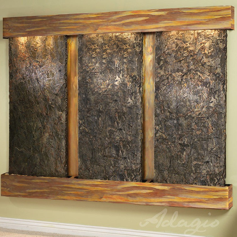 Deep Creek - Green Slate - Rustic Copper - Squared Corners - Soothing Walls