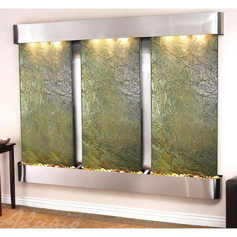 Deep Creek Falls: Green Slate and Stainless Steel Trim with Rounded Corners