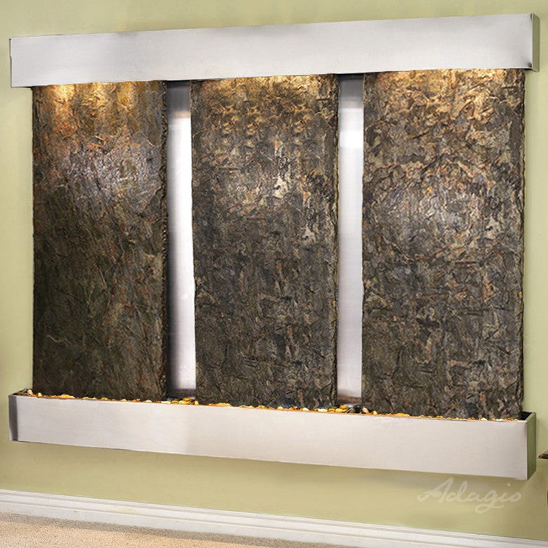 Deep Creek - Green Slate - Stainless Steel - Squared Corners - Soothing Walls