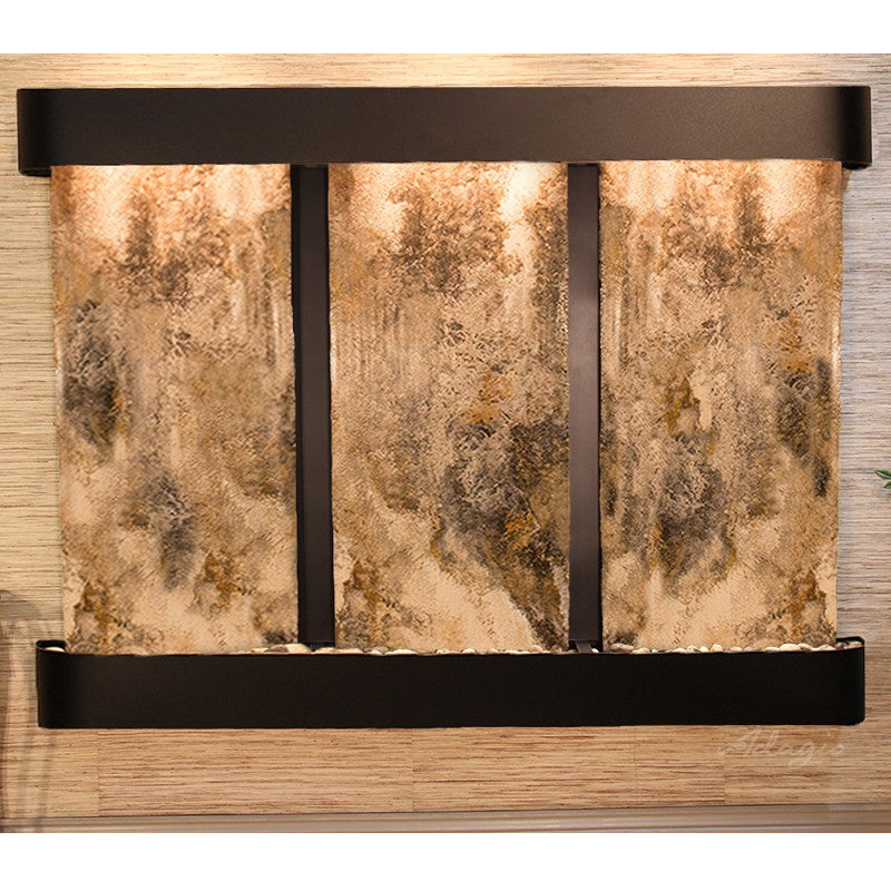 Deep Creek Falls: Magnifico Travertine and Blackened Copper Trim with Rounded Corners