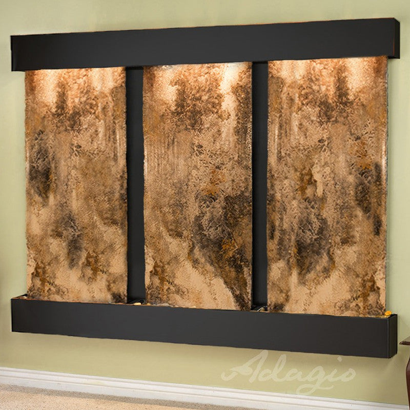 Deep Creek Falls: Magnifico Travertine and Blackened Copper Trim with Squared Corners