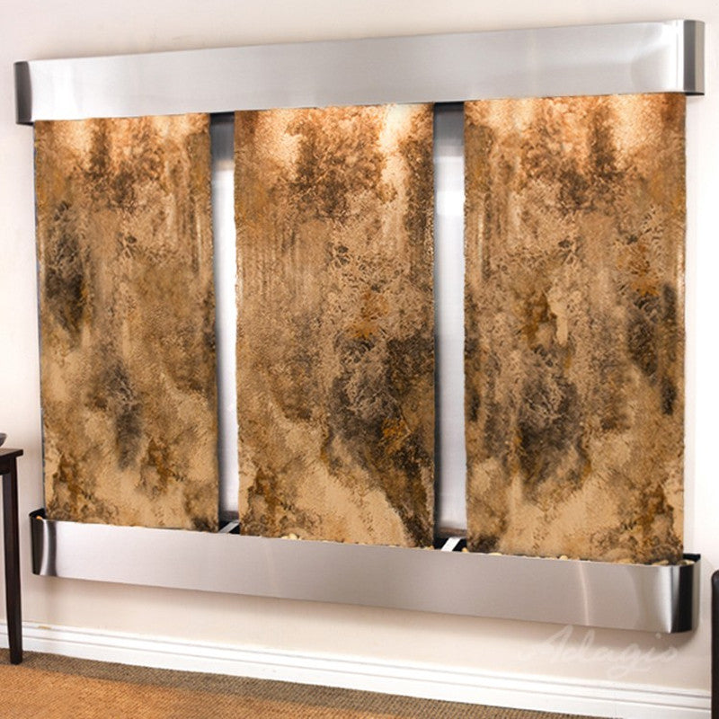Deep Creek - Magnifico Travertine - Stainless Steel - Rounded Corners - Soothing Walls