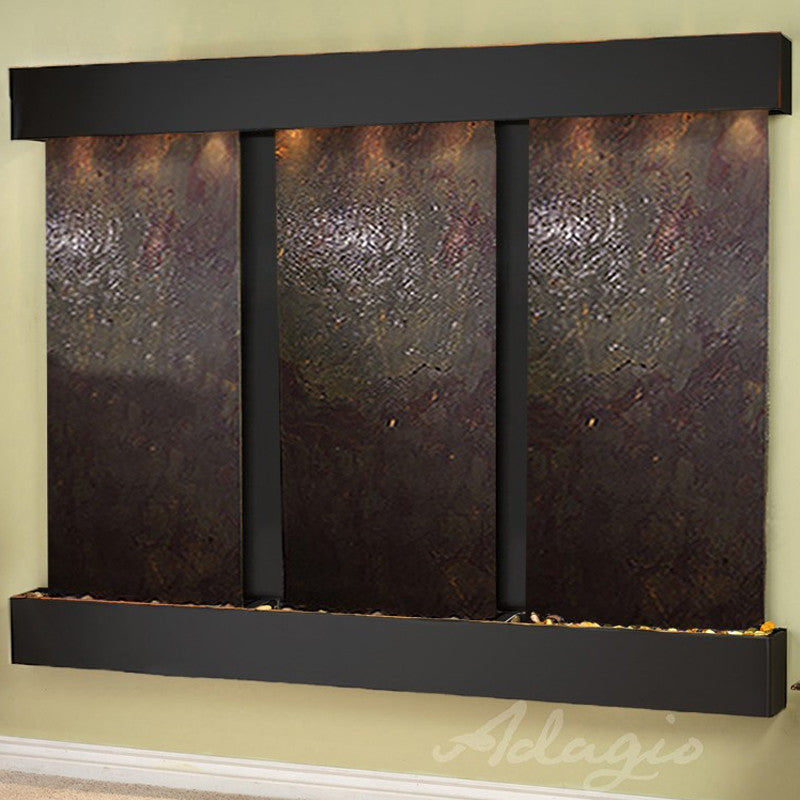 Deep Creek - Multi-Color FeatherStone - Blackened Copper - Squared Corners - Soothing Walls