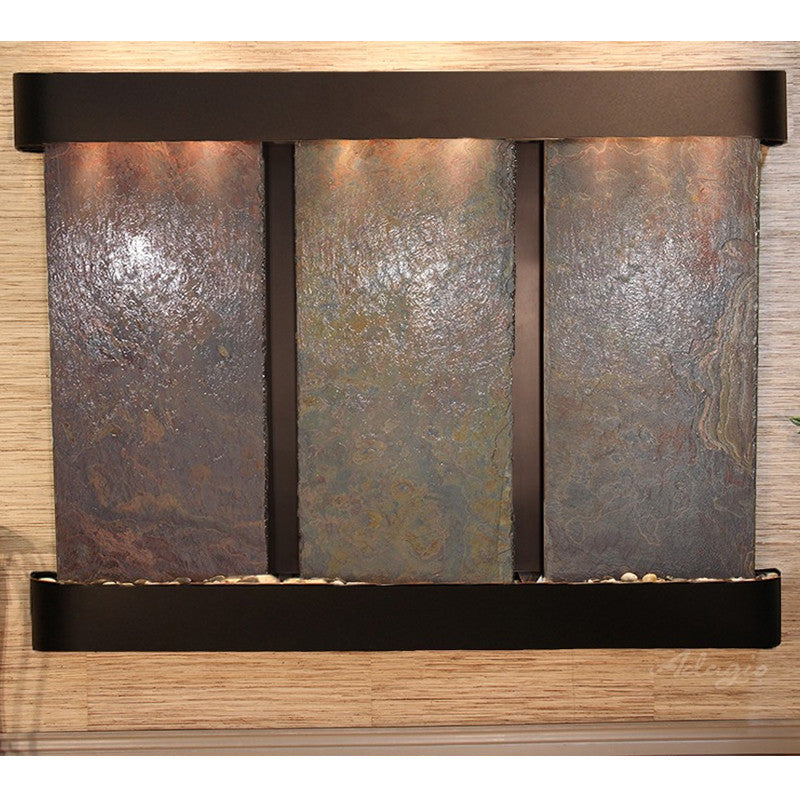Deep Creek Falls: Multi-Color Slate and Blackened Copper Trim with Rounded Corners