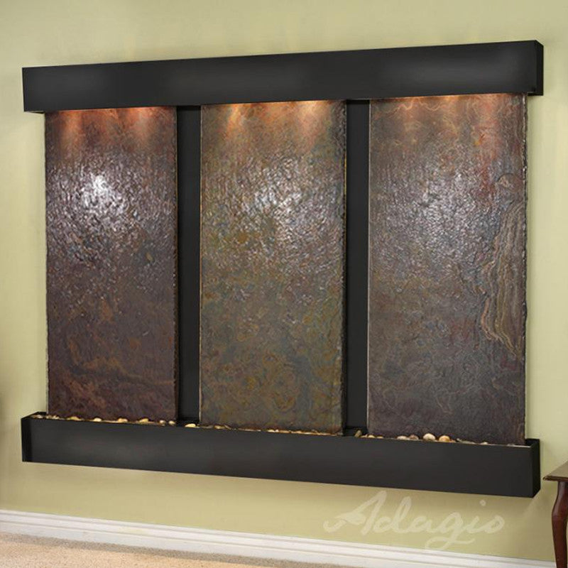 Deep Creek Falls: Multi-Color Slate and Blackened Copper Trim with Squared Corners