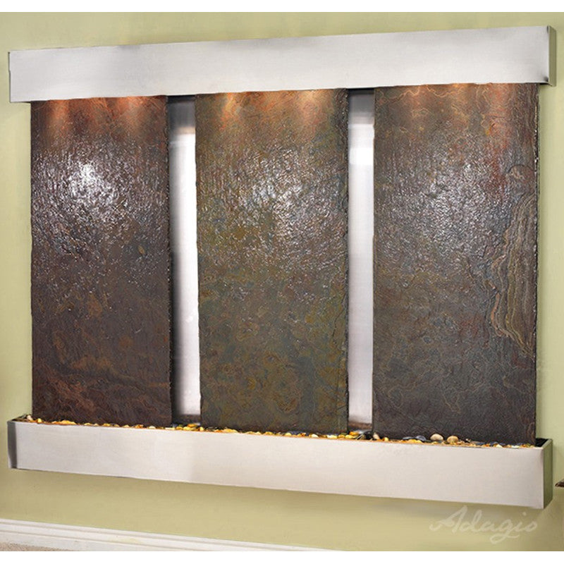 Deep Creek - Multi-Color Slate - Stainless Steel - Squared Corners - Soothing Walls