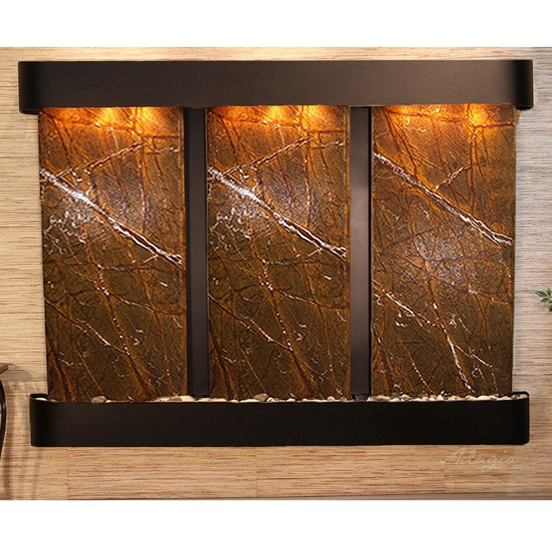 Deep Creek Falls: Rainforest Brown Marble and Blackened Copper Trim and Rounded Corners