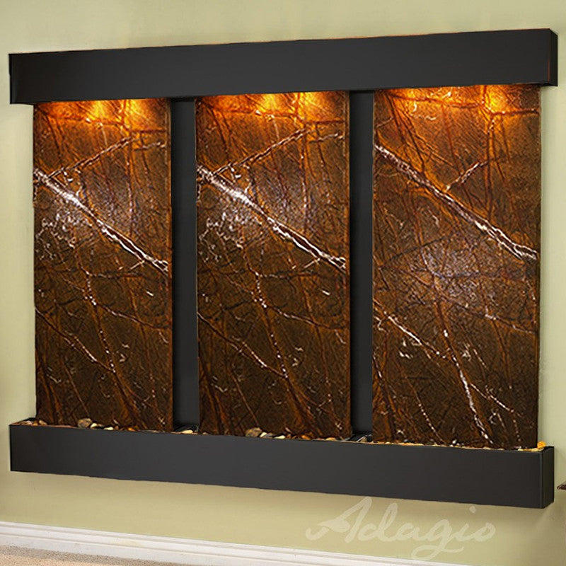 Deep Creek Falls: Rainforest Brown Marble and Blackened Copper Trim and Squared Corners