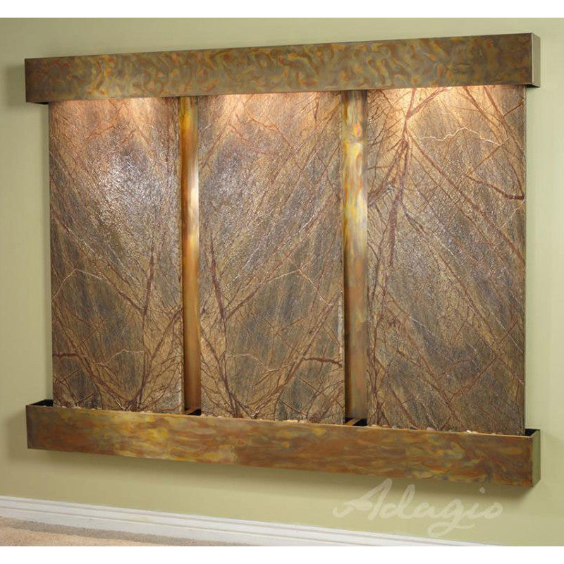 Deep Creek Falls: Rainforest Brown Marble and Rustic Copper Trim with Squared Corners
