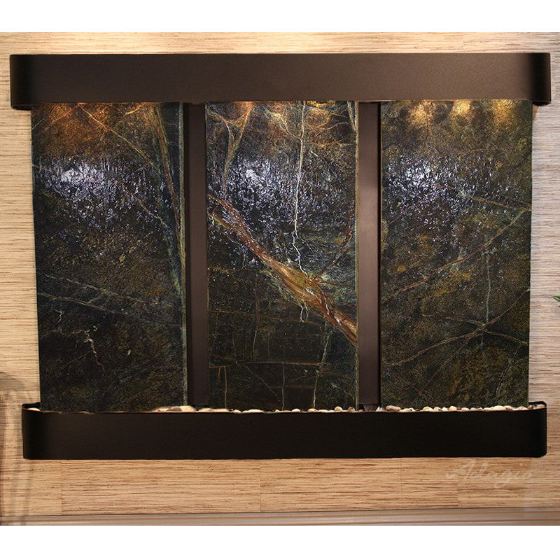 Deep Creek - Rainforest Green Marble - Blackened Copper - Rounded Corners - Soothing Walls