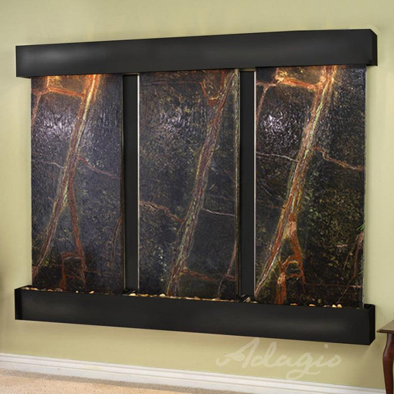 Deep Creek - Rainforest Green Marble - Blackened Copper - Squared Corners - Soothing Walls