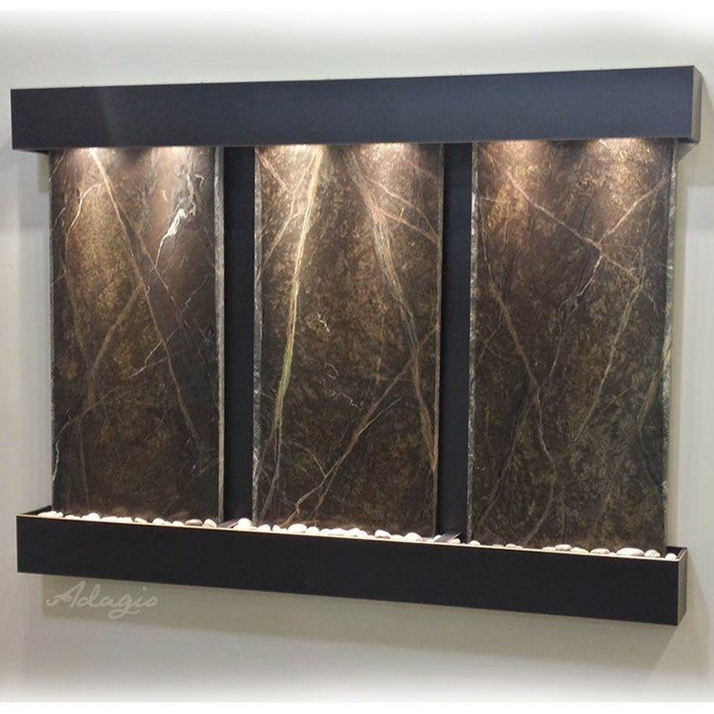 Deep Creek Falls: Rainforest Green Marble and Blackened Copper Trim with Squared Corners