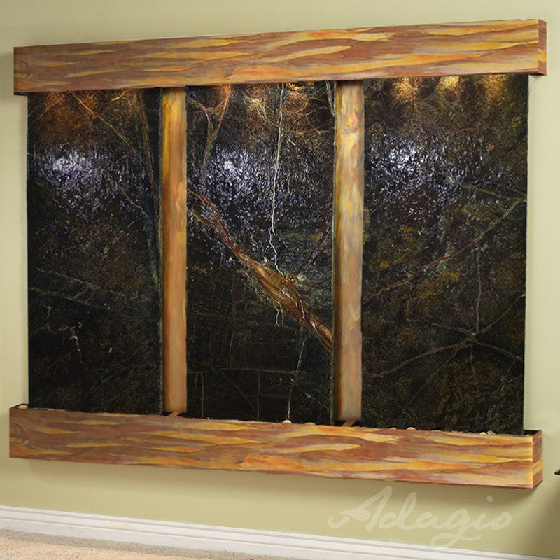 Deep Creek Falls: Rainforest Green Marble and Rustic Copper Trim with Squared Corners
