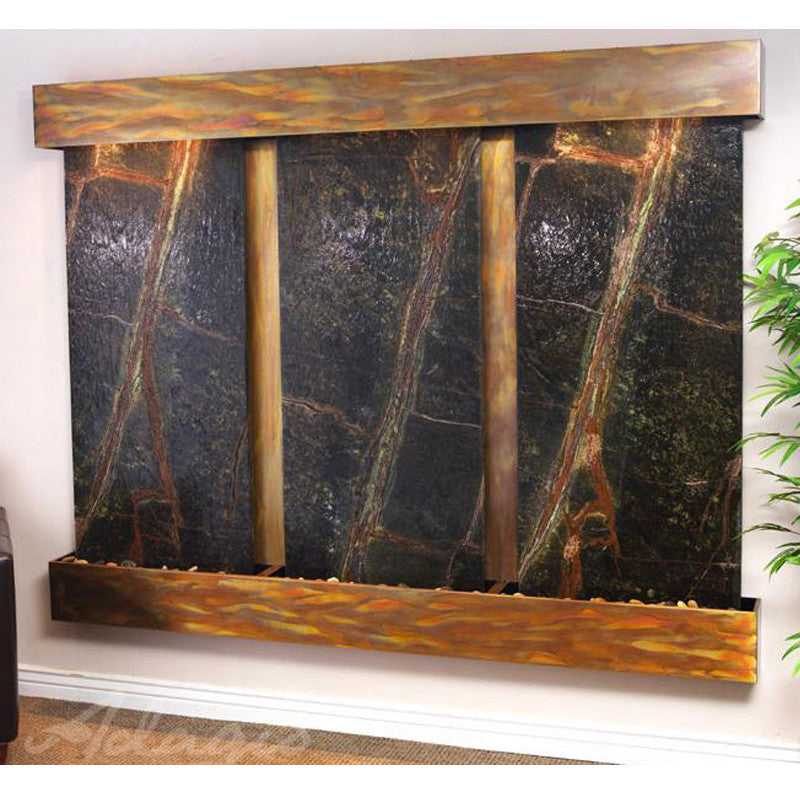 Deep Creek - Rainforest Green Marble - Rustic Copper - Squared Corners - Soothing Walls