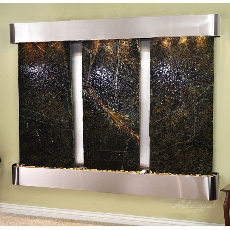 Deep Creek - Rainforest Green Marble - Stainless Steel - Rounded Corners - Soothing Walls