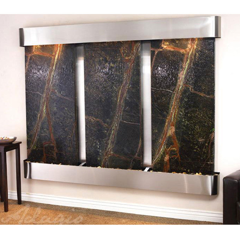 Deep Creek Falls: Rainforest Green Marble and Stainless Steel Trim and Rounded Corners
