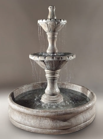 "Dijon Outdoor Fountain with 55"" Basin - Soothing Walls"
