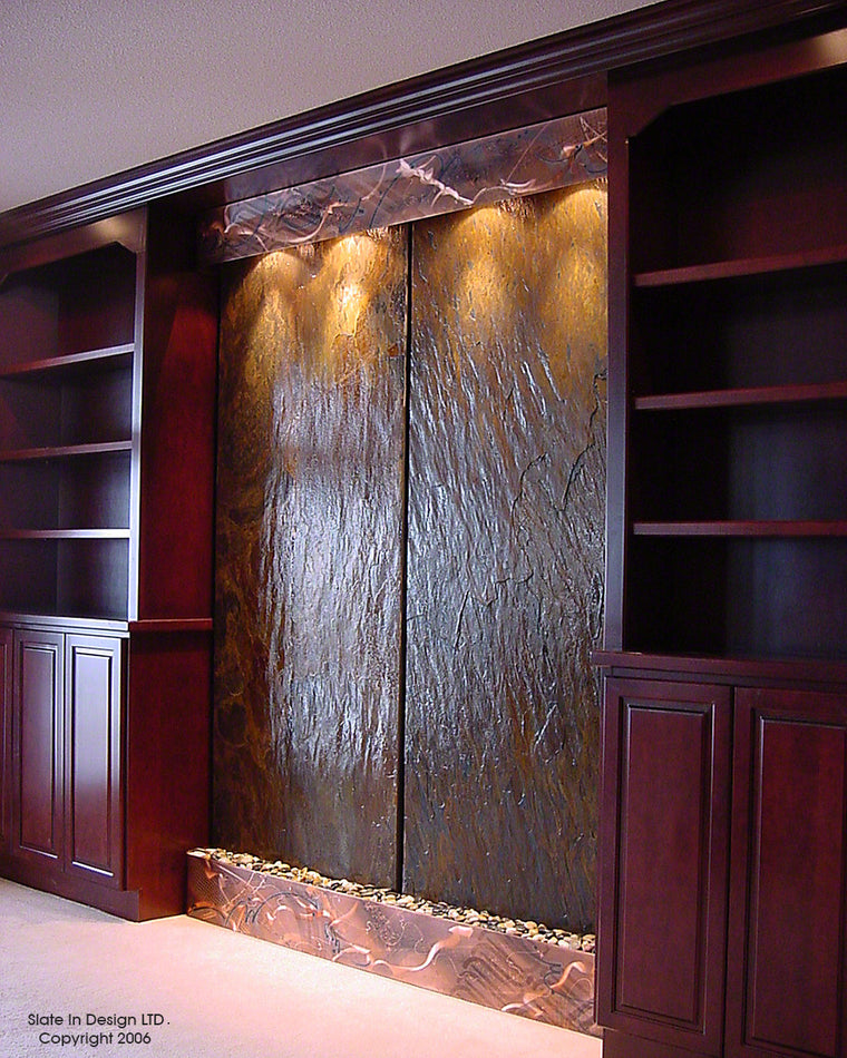 Double Elements Wall Fountain With Copper Trim   Soothing Walls