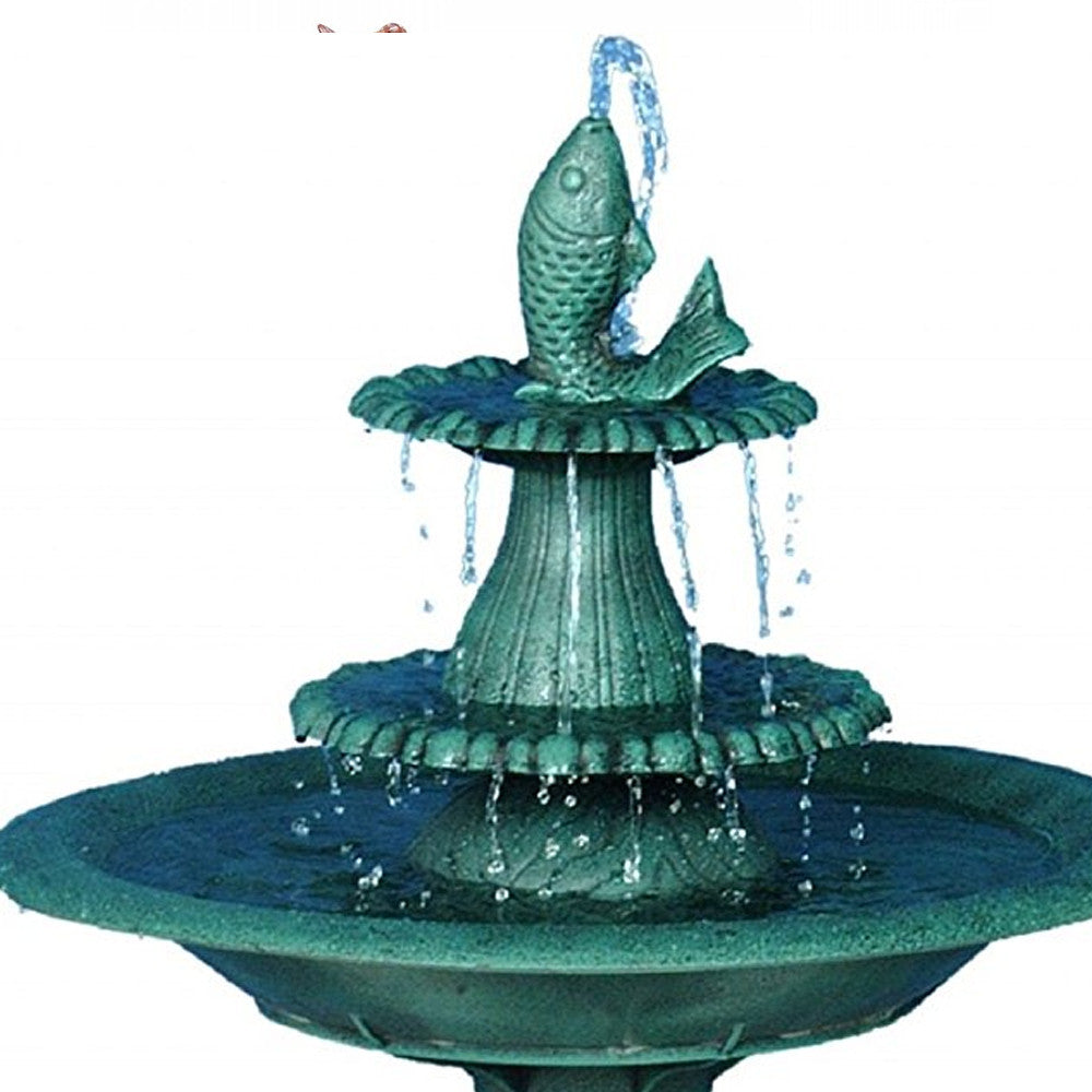 Tiered Bird Bath Fountain with Fish - Soothing Walls