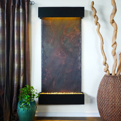 Grand Nojoqui Wall Fountain With Black Onyx Trim - Soothing Walls
