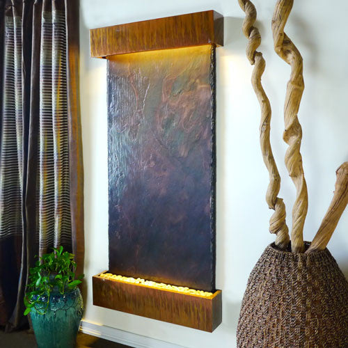 Grand Nojoqui Wall Fountain With Copper Patina Trim - Soothing Walls