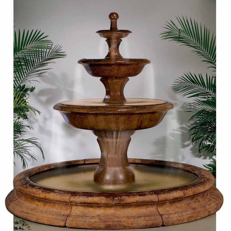 Grande Barrington Outdoor Water Fountain In Toscana Pool   Soothing Walls