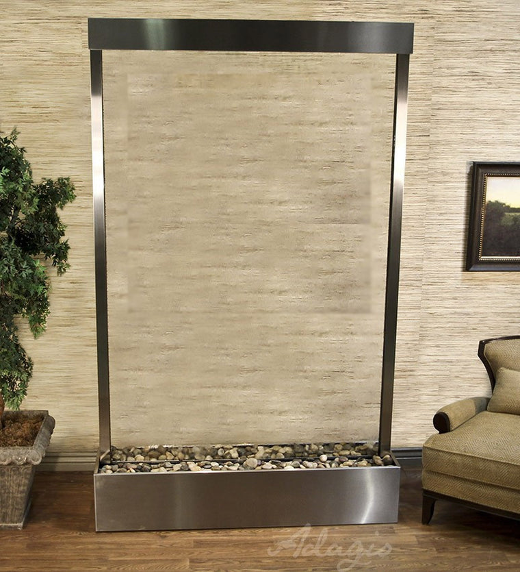 Attrayant Grandeur River   Clear Glass   Stainless Steel   Soothing Walls. Quick  Shop. Grandeur River Floor Fountain ...