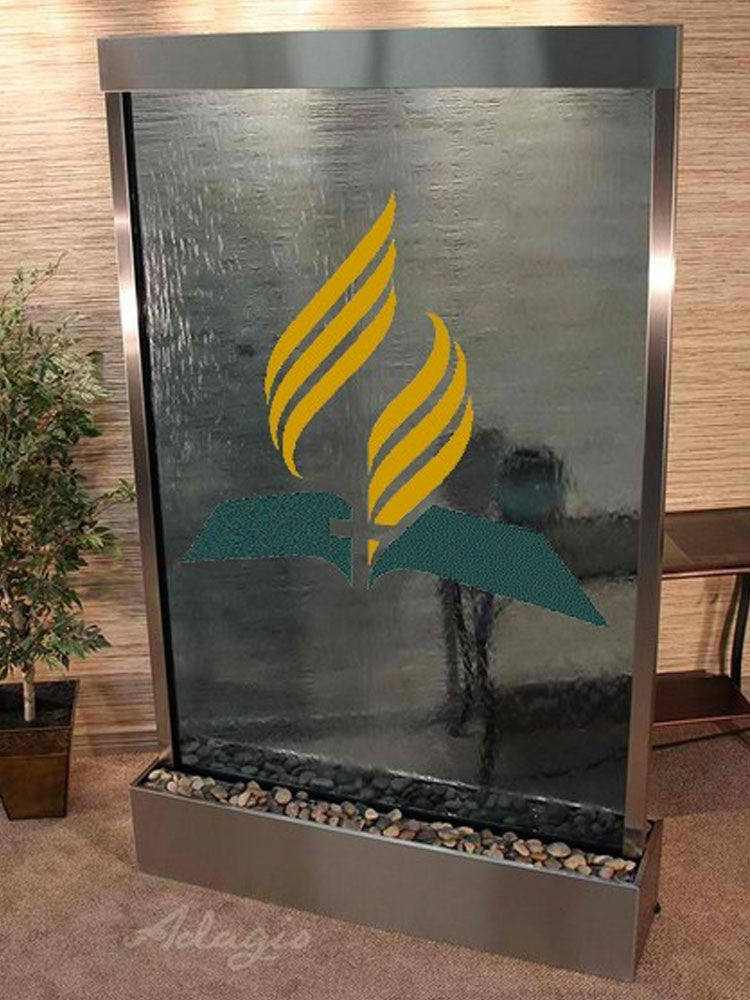 Grandeur River Floor Fountain with Logo - Soothing Walls