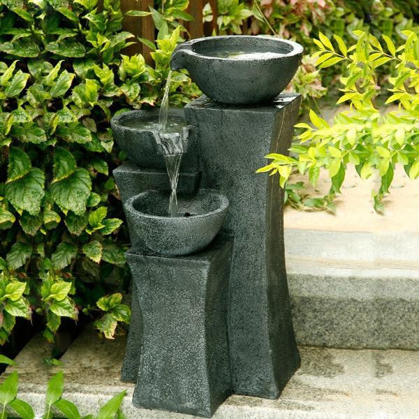 "Vicenza - 18"" Tri-Bowl Cascading Waterfall Fountain - Soothing Walls"