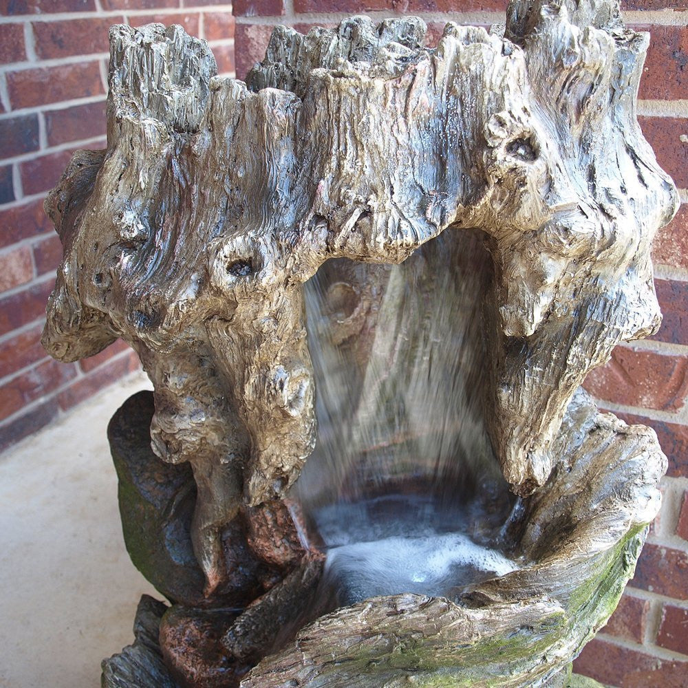 "32"" Cottage Log Garden Fountain with LED Lights - SoothingWalls"