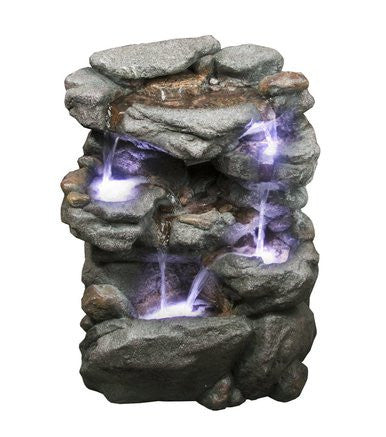 "20"" Virginia Rock Fountain with LED Lights - SoothingWalls"
