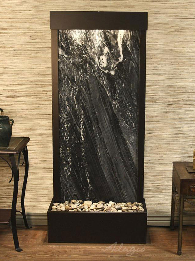 Harmony River (Flush Mounted Towards Rear Of The Base) - Black Spider Marble - Antique Bronze - Soothing Walls